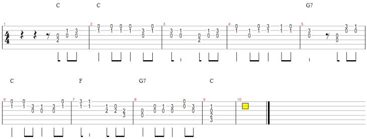 双音板小星星吉他乐谱